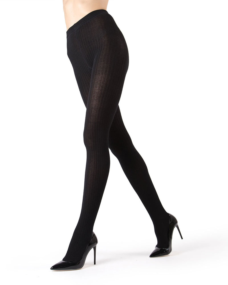 MeMoi Black Boston Ribbed Sweater Tights | Women's Hosiery - Pantyhose - Nylons