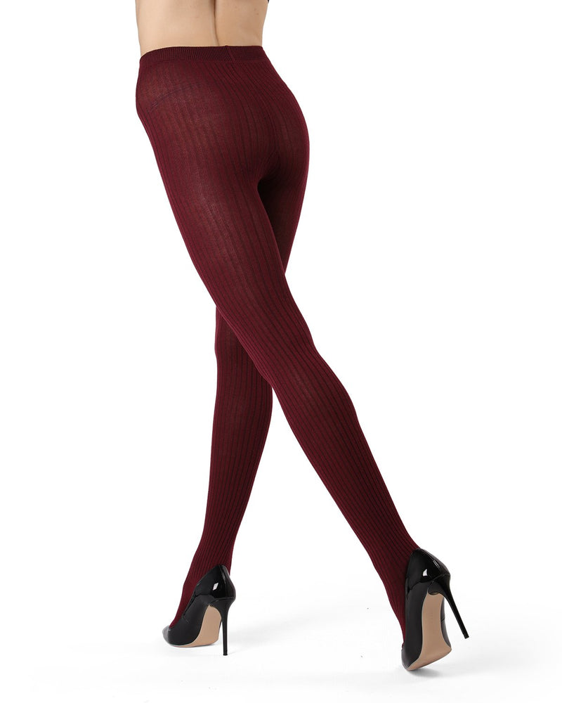 MeMoi Cabernet (2) Boston Ribbed Sweater Tights | Women's Winter / Autumn Hosiery - Pantyhose - Nylons