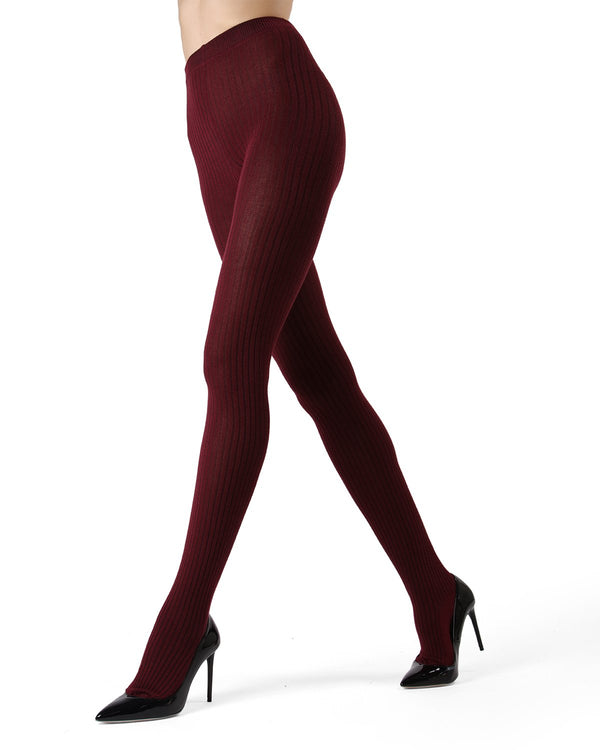 MeMoi Cabernet Boston Ribbed Sweater Tights | Women's Winter / Autumn Hosiery - Pantyhose - Nylons