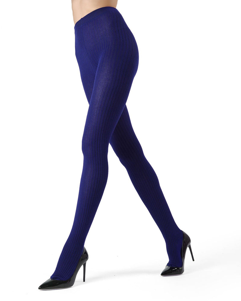MeMoi Cobalt Boston Ribbed Sweater Tights | Women's Winter / Autumn Hosiery - Pantyhose - Nylons
