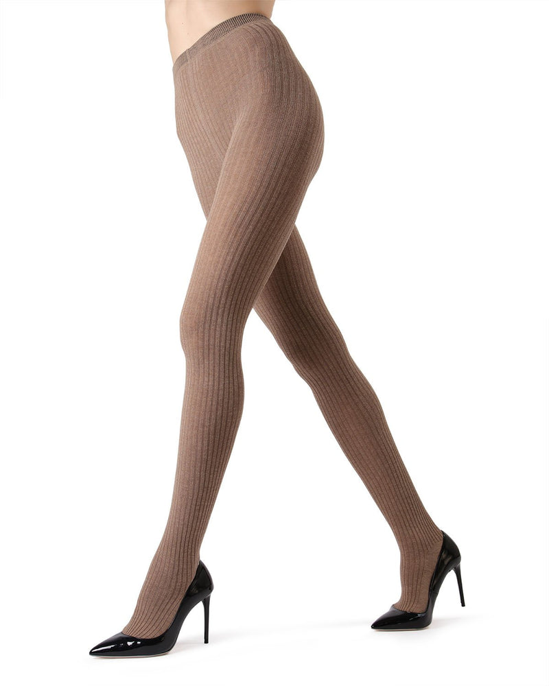 MeMoi Light Taupe Heather Boston Ribbed Sweater Tights | Women's Winter / Autumn Hosiery - Pantyhose - Nylons