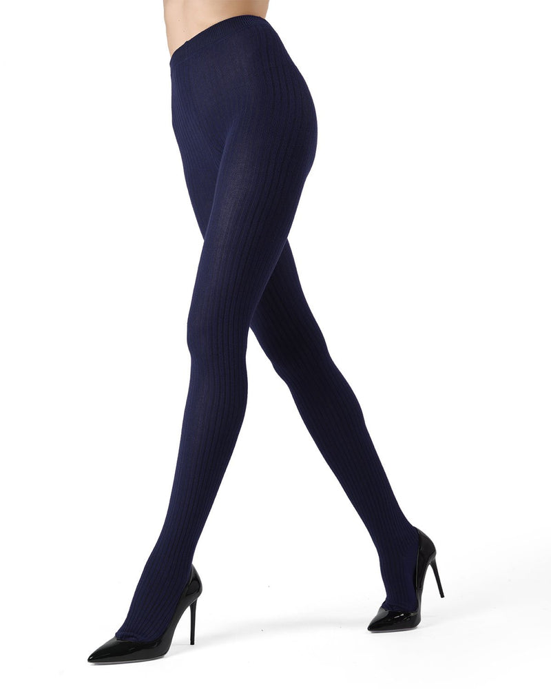 MeMoi Navy Blazer Boston Ribbed Sweater Tights | Women's Winter / Autumn Hosiery - Pantyhose - Nylons