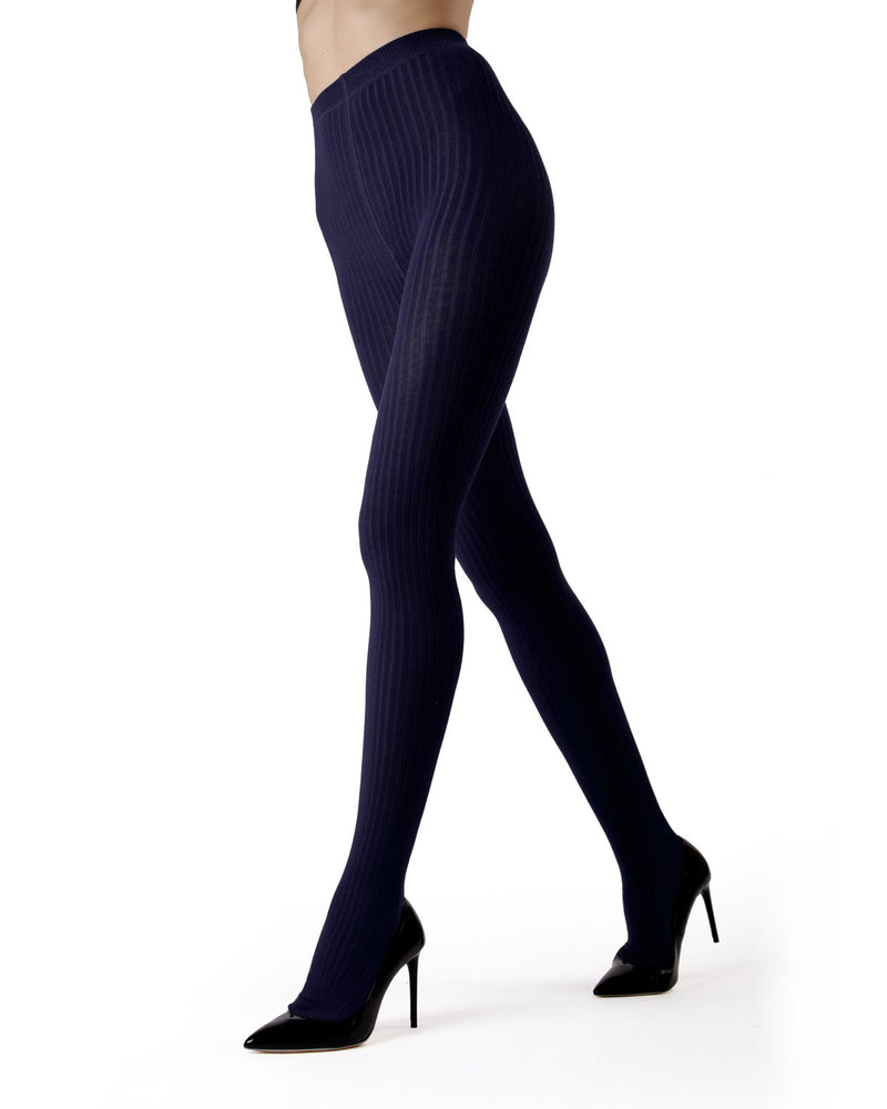 MeMoi Navy Boston Ribbed Sweater Tights | Women's Winter / Autumn Hosiery - Pantyhose - Nylons