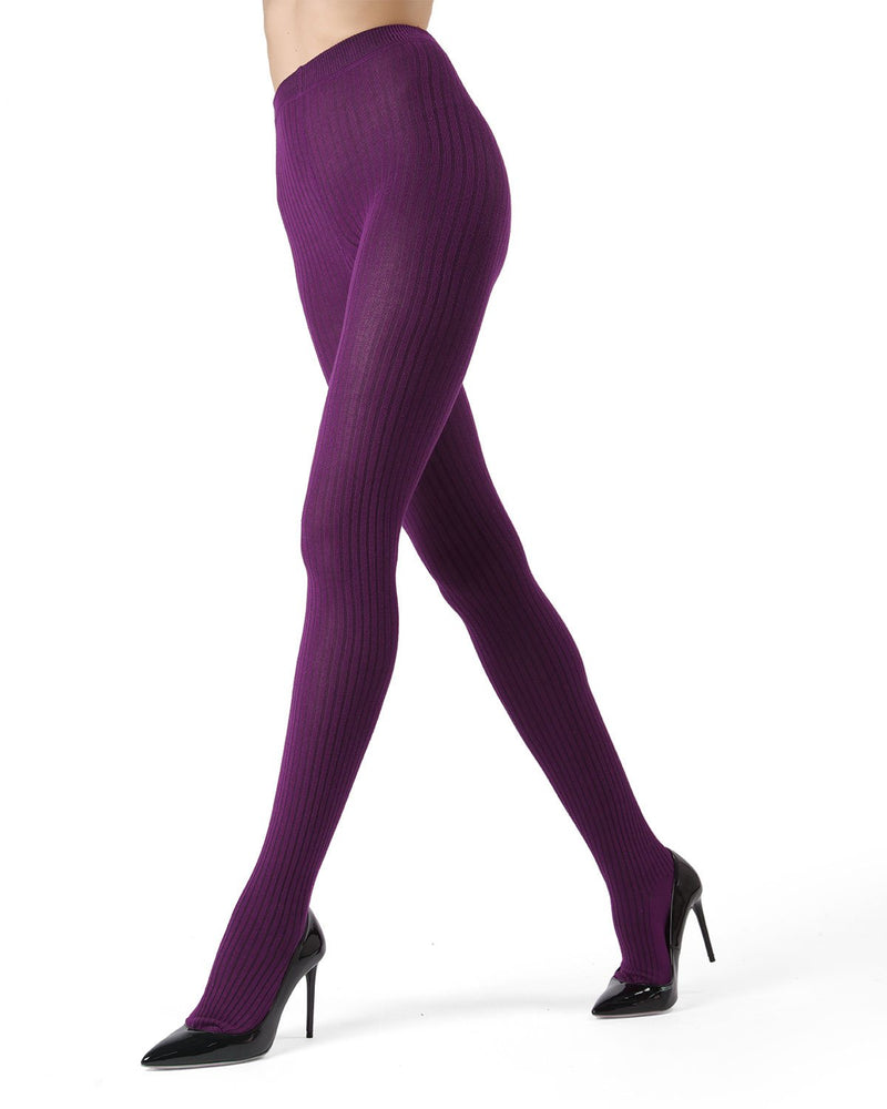 MeMoi Potent Purple Boston Ribbed Sweater Tights | Women's Winter / Autumn Hosiery - Pantyhose - Nylons