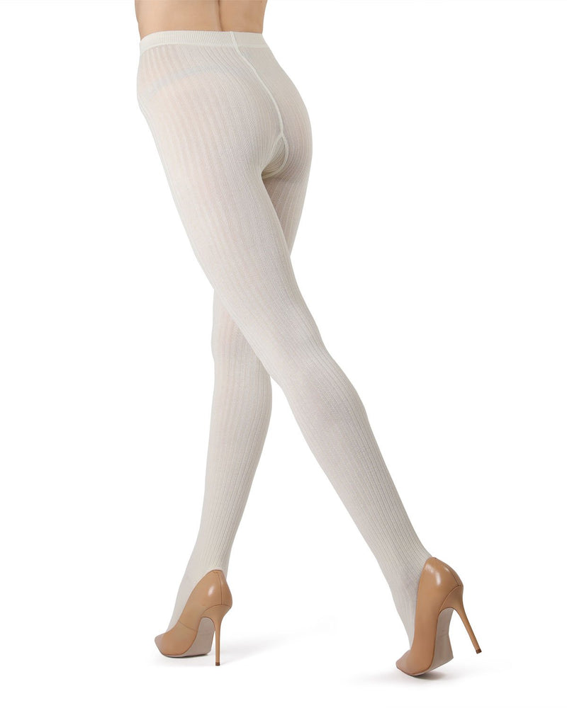 MeMoi Winter White (2) Boston Ribbed Sweater Tights | Women's Winter / Autumn Hosiery - Pantyhose - Nylons