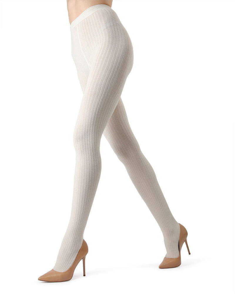 MeMoi Winter White Boston Ribbed Sweater Tights | Women's Winter / Autumn Hosiery - Pantyhose - Nylons