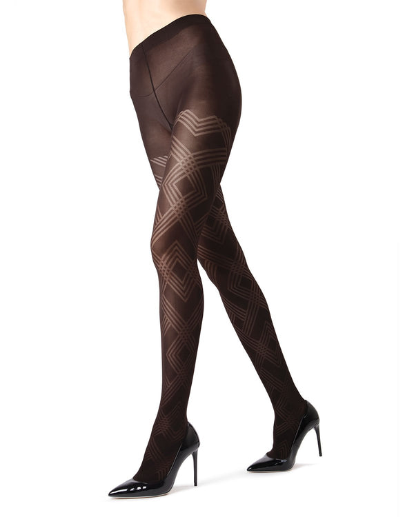 MeMoi Black Geometric Pattern Tights | Women's Tights - Hosiery - Pantyhose