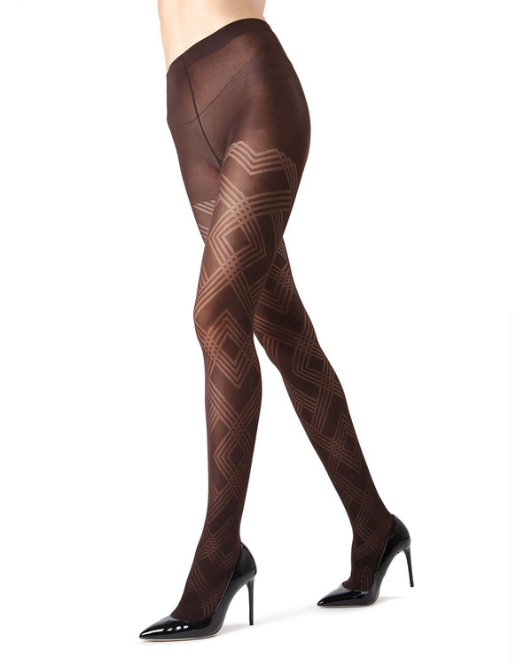 MeMoi Dark Chocolate Geometric Pattern Tights | Women's Tights - Hosiery - Pantyhose