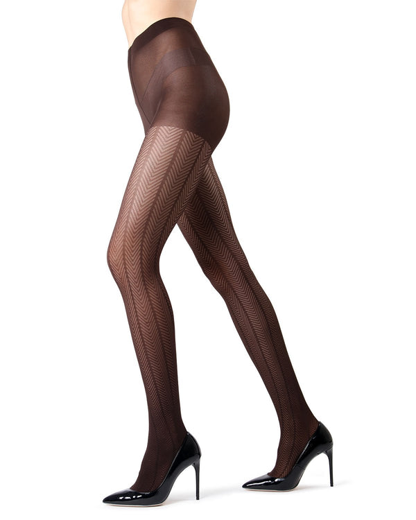 MeMoi Dark Chocolate Herringbone Tights | Women's Tights - Hosiery - Pantyhose