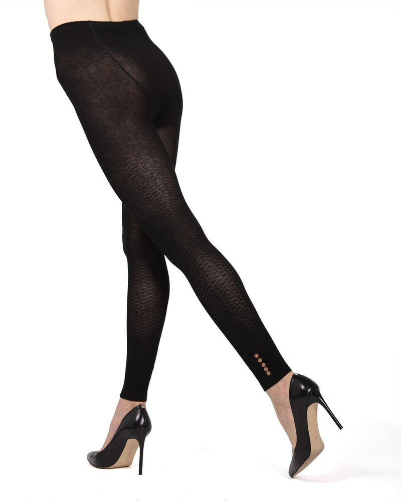 Memoi Black (2) Del Buttoned Sweater Footless Tights | Women's Hosiery - Pantyhose - Nylons