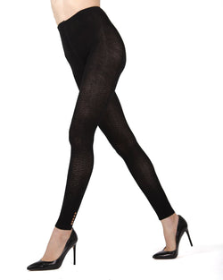 Memoi Black Del Buttoned Sweater Footless Tights | Women's Hosiery - Pantyhose - Nylons