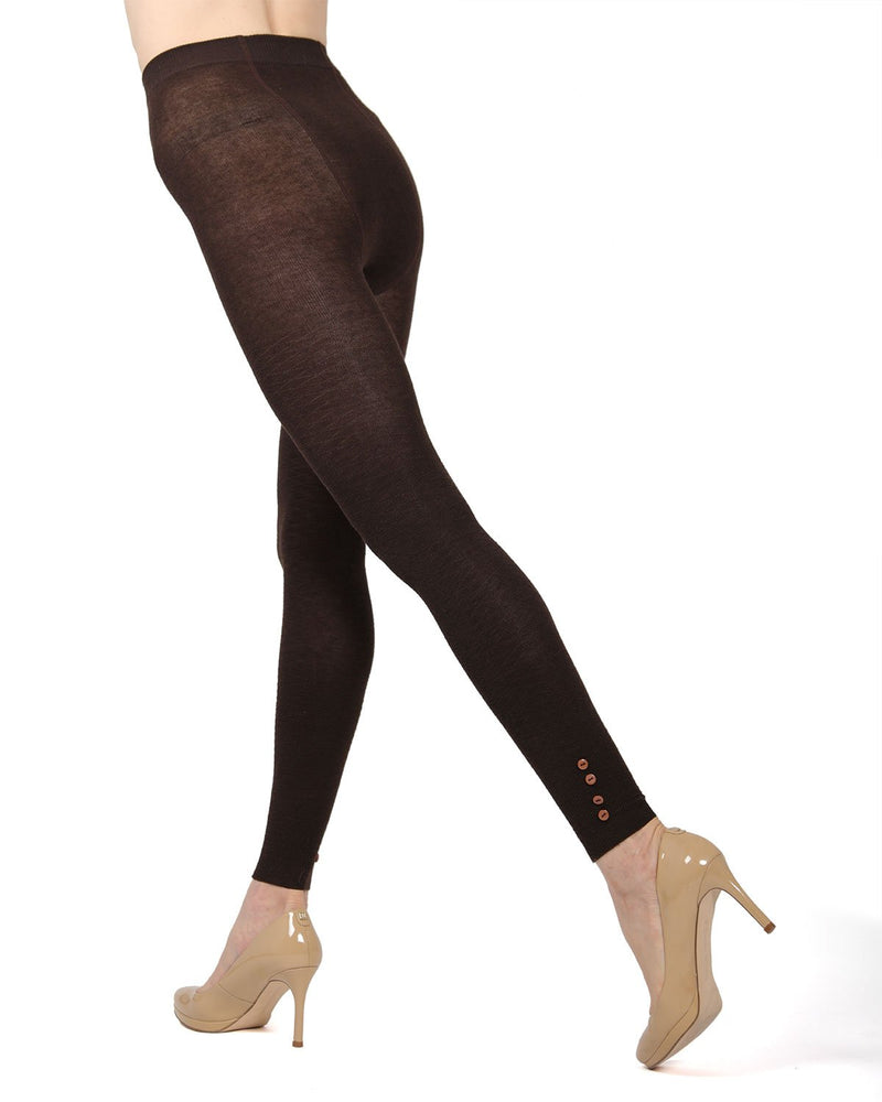 Memoi Chocolate Chip (2) Del Buttoned Sweater Footless Tights | Women's Hosiery - Pantyhose - Nylons