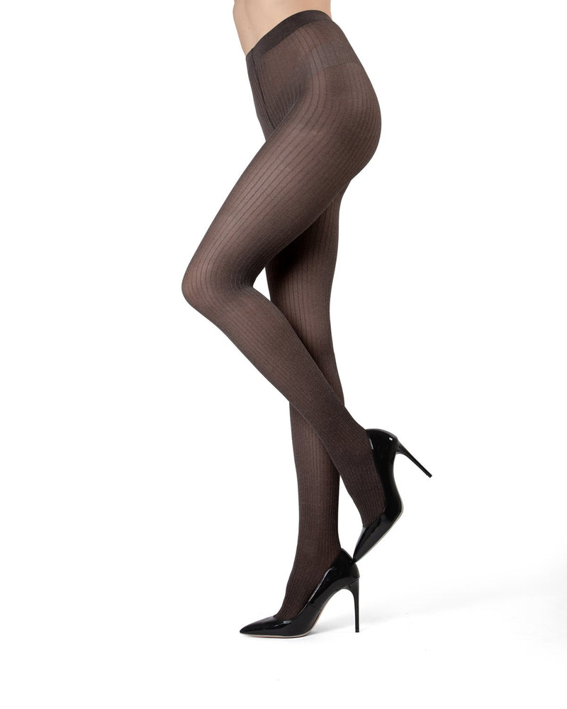 MeMoi Black Luxury Divas Black Ribbed Pinstripe Tights | Women's Tights - Hosiery - Pantyhose