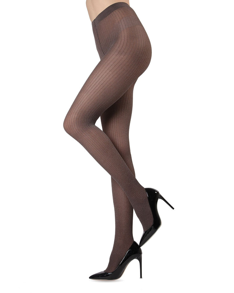 MeMoi Black Luxury Divas Dark Chocolate Ribbed Pinstripe Tights | Women's Tights - Hosiery - Pantyhose