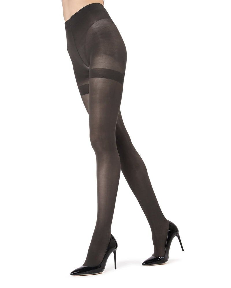 MeMoi Perfectly Opaque Shaper Tights | Women's Best Control Top Shaping Tights | Hosiery - Pantyhose - Nylons  | Charcoal MO-335