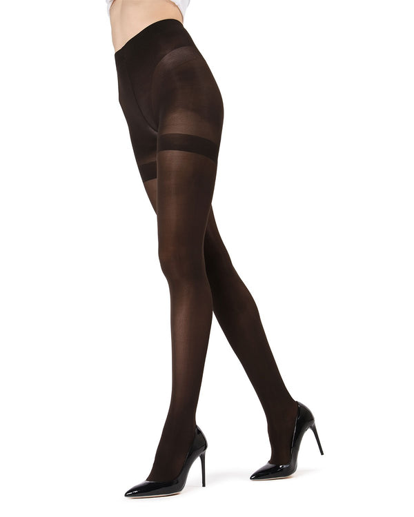 MeMoi Perfectly Opaque Shaper Tights | Women's Best Control Top Shaping Tights | Hosiery - Pantyhose - Nylons  | Dark Chocolate MO-335