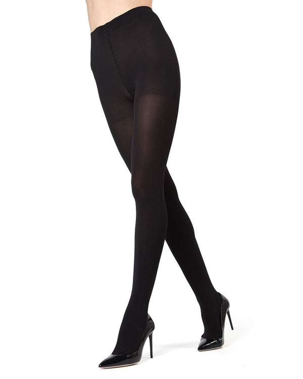 MeMoi | Black Completely Opaque Control Top Tights | Women's Tights - Hosiery