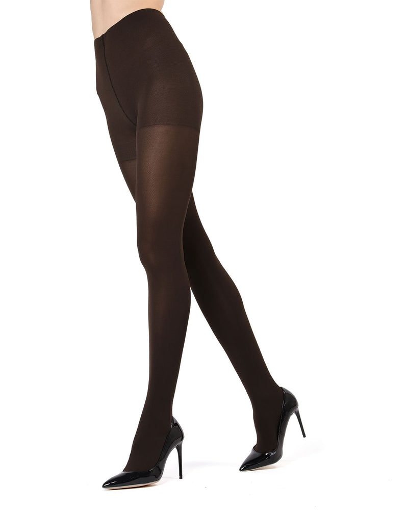 MeMoi | Brown Completely Opaque Control Top Tights | Women's Tights - Hosiery