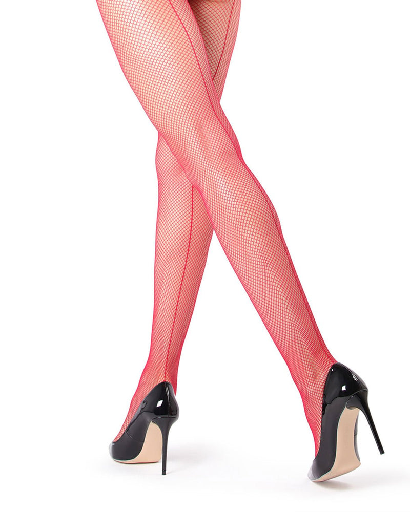 MeMoi | Red Backseam Fishnet Tights | Women's Tights