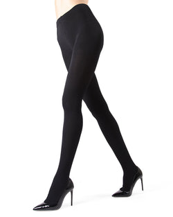 MeMoi | Black Plush Lined Tights (side view) | Women's Tights - Hosiery
