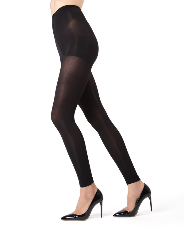 MeMoi Black Completely Opaque Control Top Footless Tights | Women's Tights - Hosiery - Pantyhose