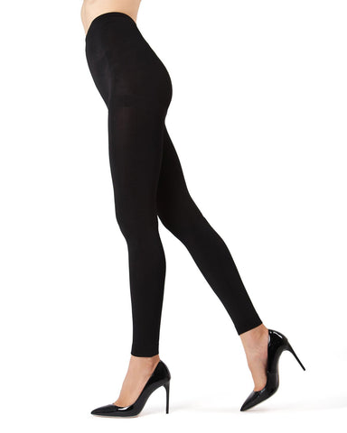 Memoi Black Winter Fleece Footless Tights | Women's Hosiery - Pantyhose - Nylons