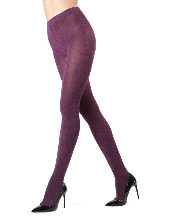 Memoi Eggplant Shiny Sweater Tights | Women's Hosiery - Pantyhose - Nylons