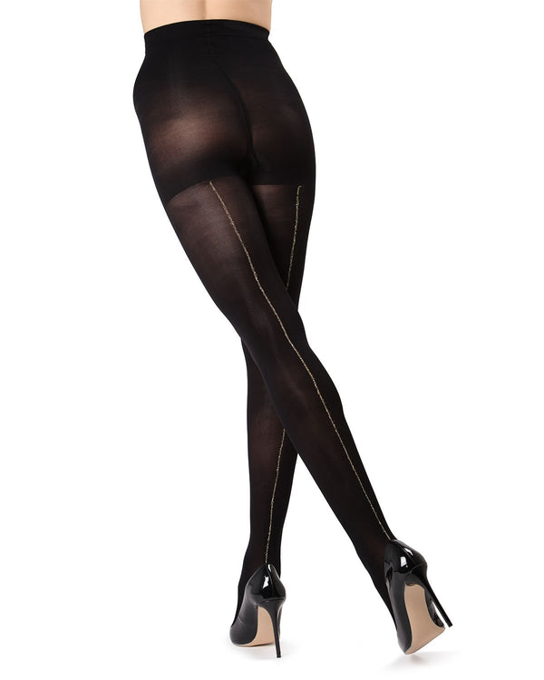 MeMoi Black/Gold Havana Lurex Backseam Tights | Women's Tights - Hosiery
