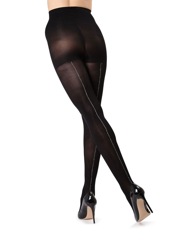 MeMoi Black/Silver Havana Lurex Backseam Tights | Women's Tights - Hosiery