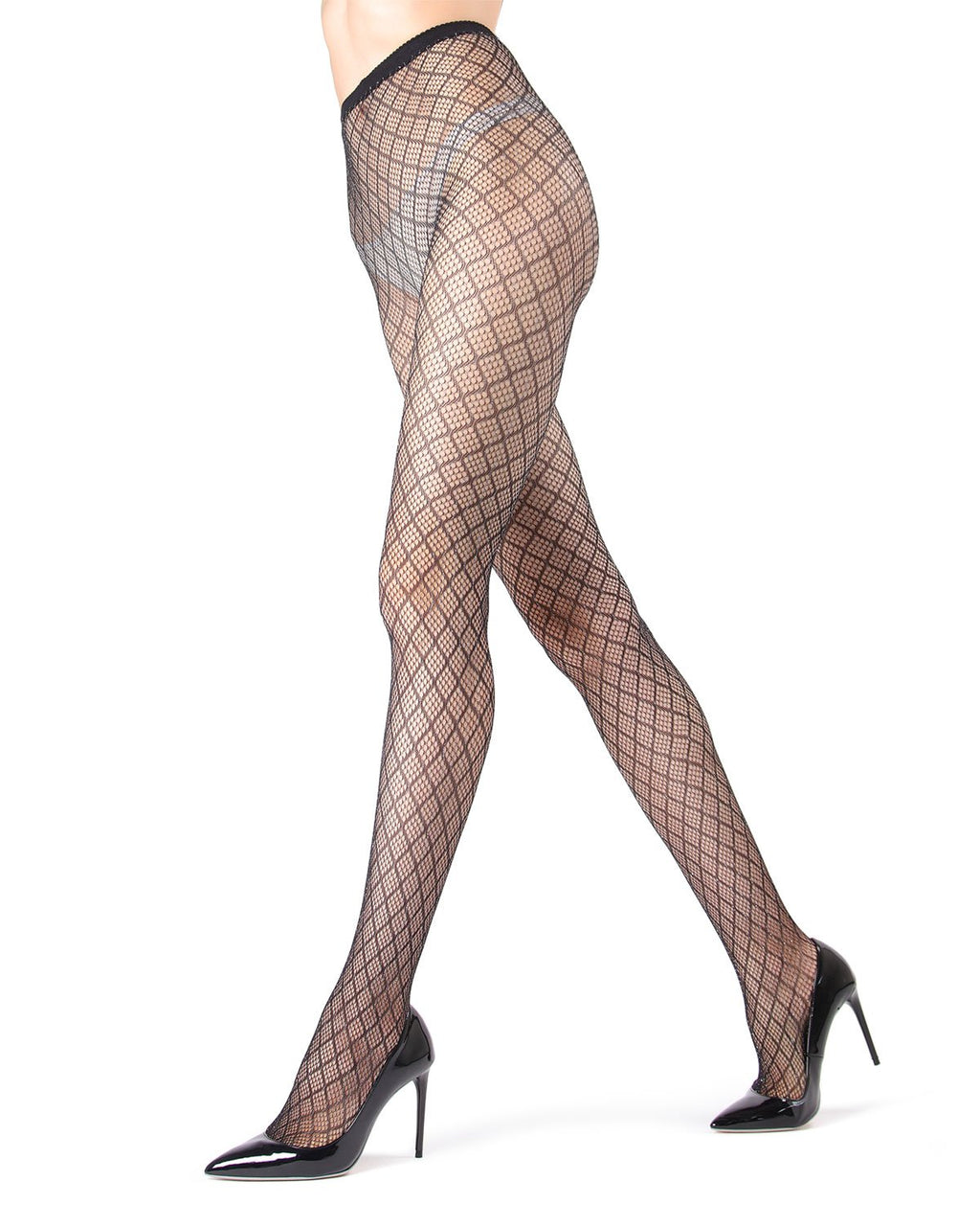 MeMoi | Black/Silver Infinite Diamond Lurex Net Tights | Women's Tights