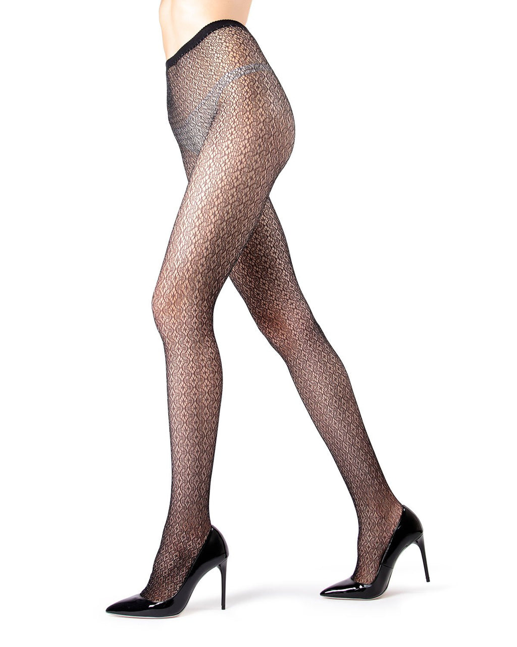 MeMoi | Black/Silver Crochet Lurex Net Tights | Women's Tights