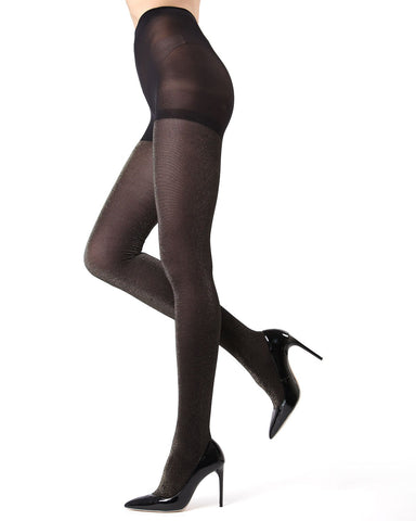 MeMoi Glitter Tights |MeMoi Women's Fashion Hosiery - Pantyhose - Nylons Collection | Women & Girls | Black/Silver MO 357