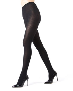 Memoi Black Portland Side Cable Sweater Tights | Women's Hosiery - Pantyhose - Nylons