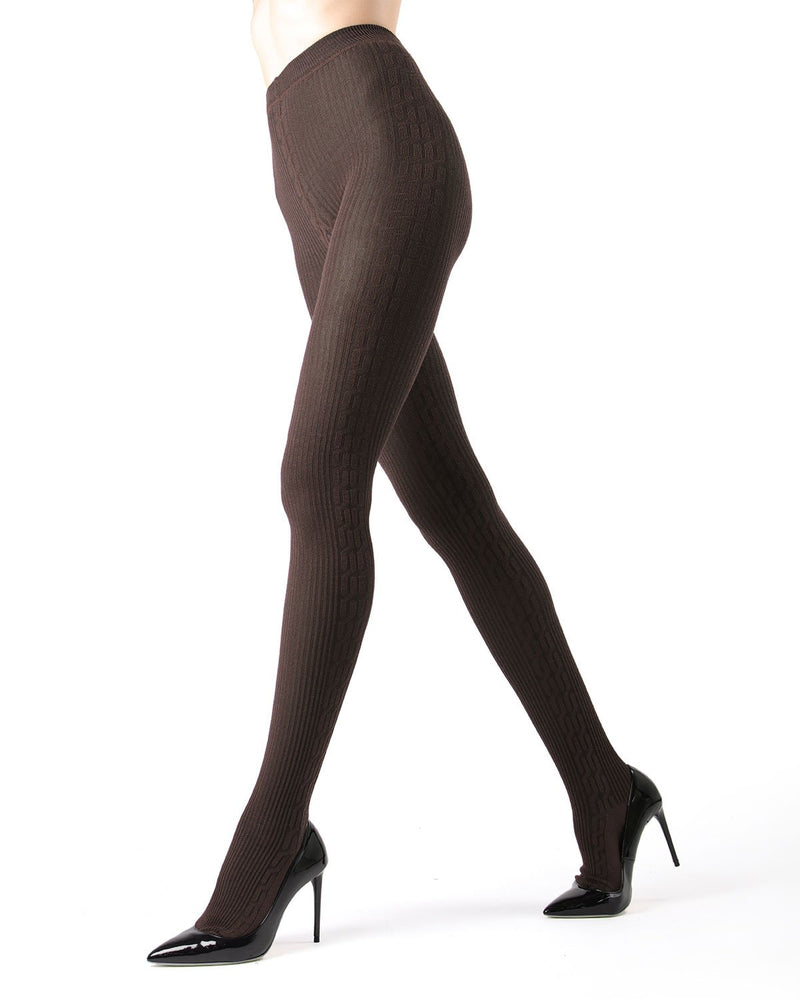 Memoi Brown Heather Portland Side Cable Sweater Tights | Women's Hosiery - Pantyhose - Nylons