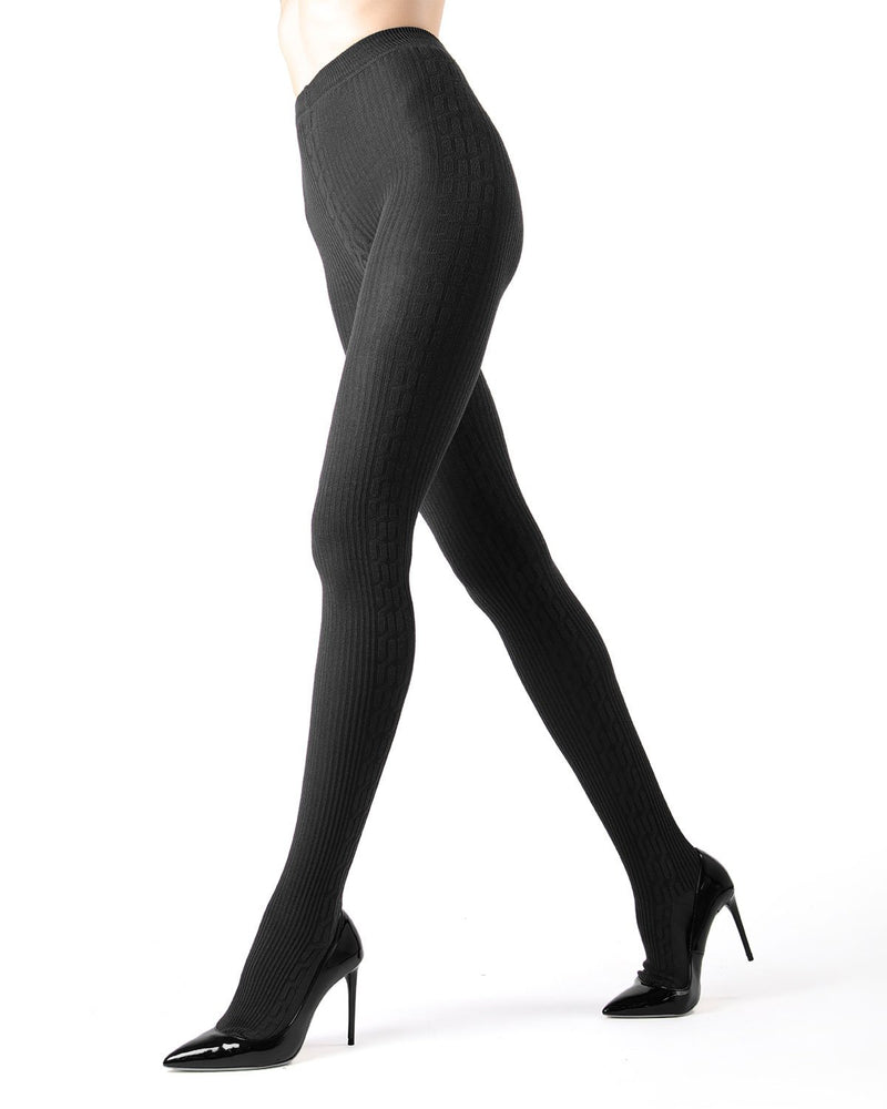Memoi Dark Grey Heather Portland Side Cable Sweater Tights | Women's Hosiery - Pantyhose - Nylons