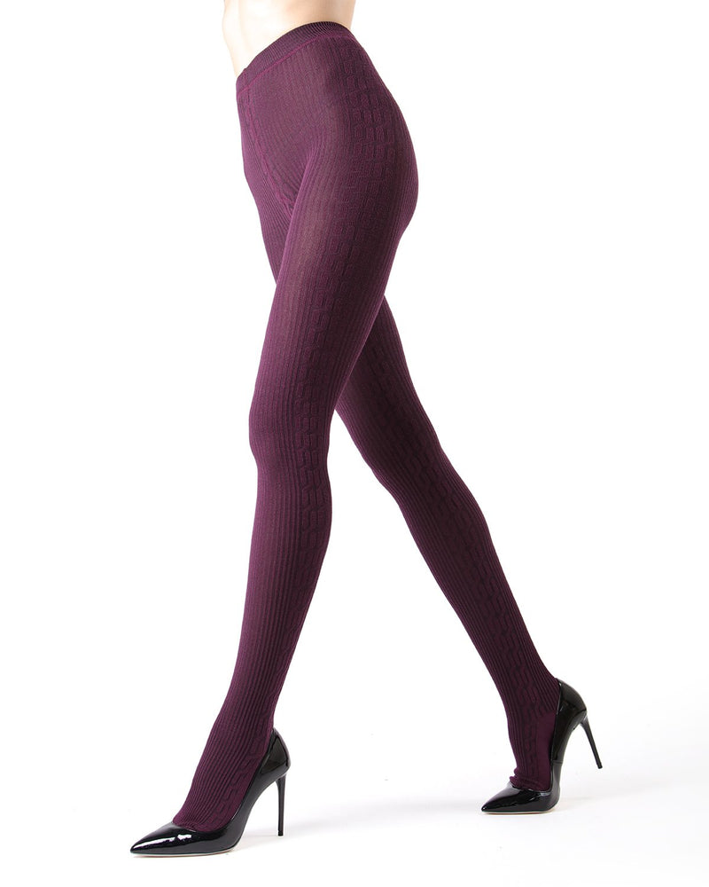 Memoi Italian Plum Portland Side Cable Sweater Tights | Women's Hosiery - Pantyhose - Nylons