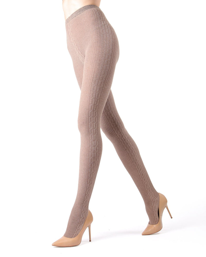 Memoi Lt Taupe Heather Portland Side Cable Sweater Tights | Women's Hosiery - Pantyhose - Nylons
