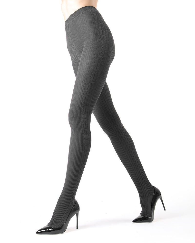Memoi Medium Grey Heather Portland Side Cable Sweater Tights | Women's Hosiery - Pantyhose - Nylons