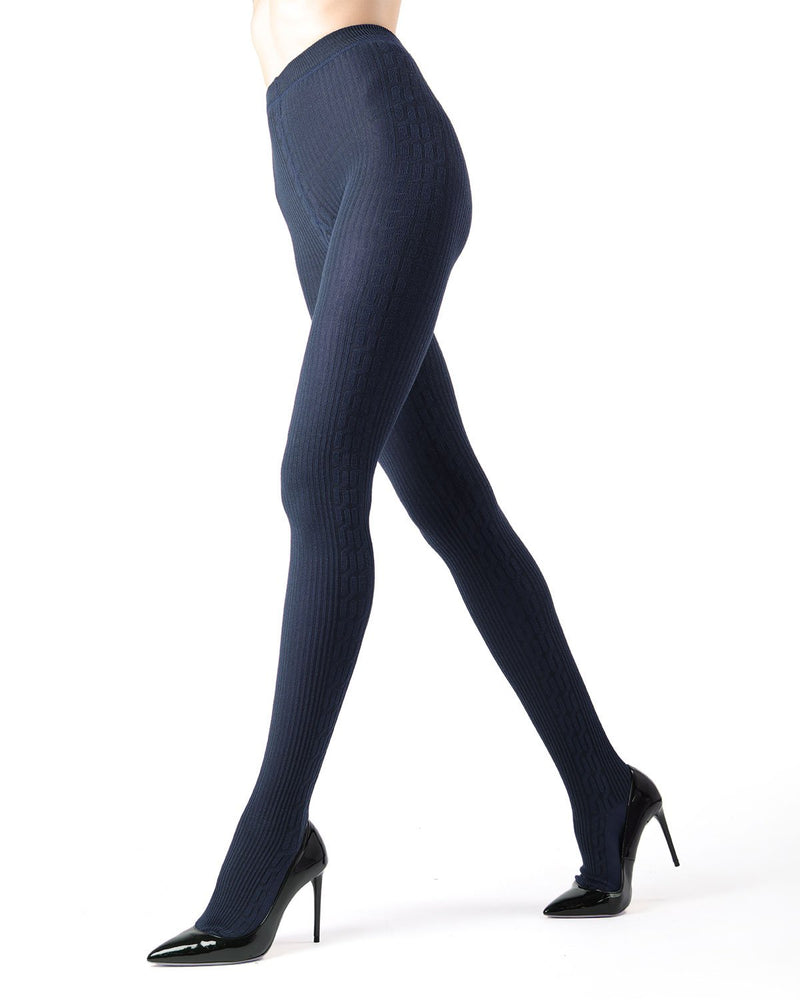 Memoi Peacoat Portland Side Cable Sweater Tights | Women's Hosiery - Pantyhose - Nylons