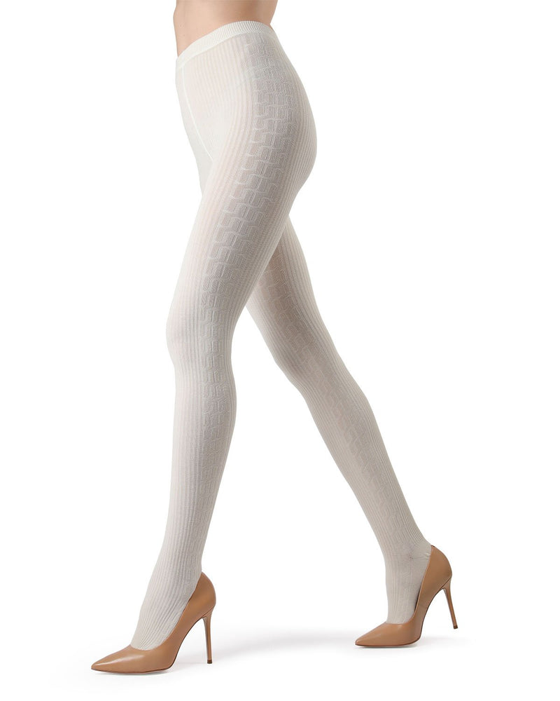 Memoi Winter White Portland Side Cable Sweater Tights | Women's Hosiery - Pantyhose - Nylons