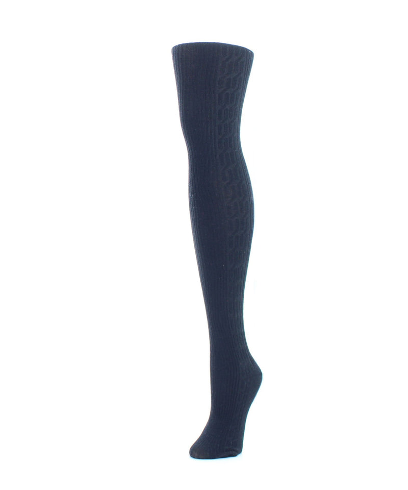 Memoi Peacoat (2) Portland Side Cable Sweater Tights | Women's Hosiery - Pantyhose - Nylons