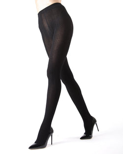 Memoi black Toronto Cable Sweater Tights | Women's Hosiery - Pantyhose - Nylons