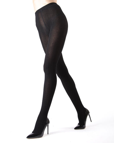 Memoi Medium Grey Heather Toronto Cable Sweater Tights | Women's Hosiery - Pantyhose - Nylons