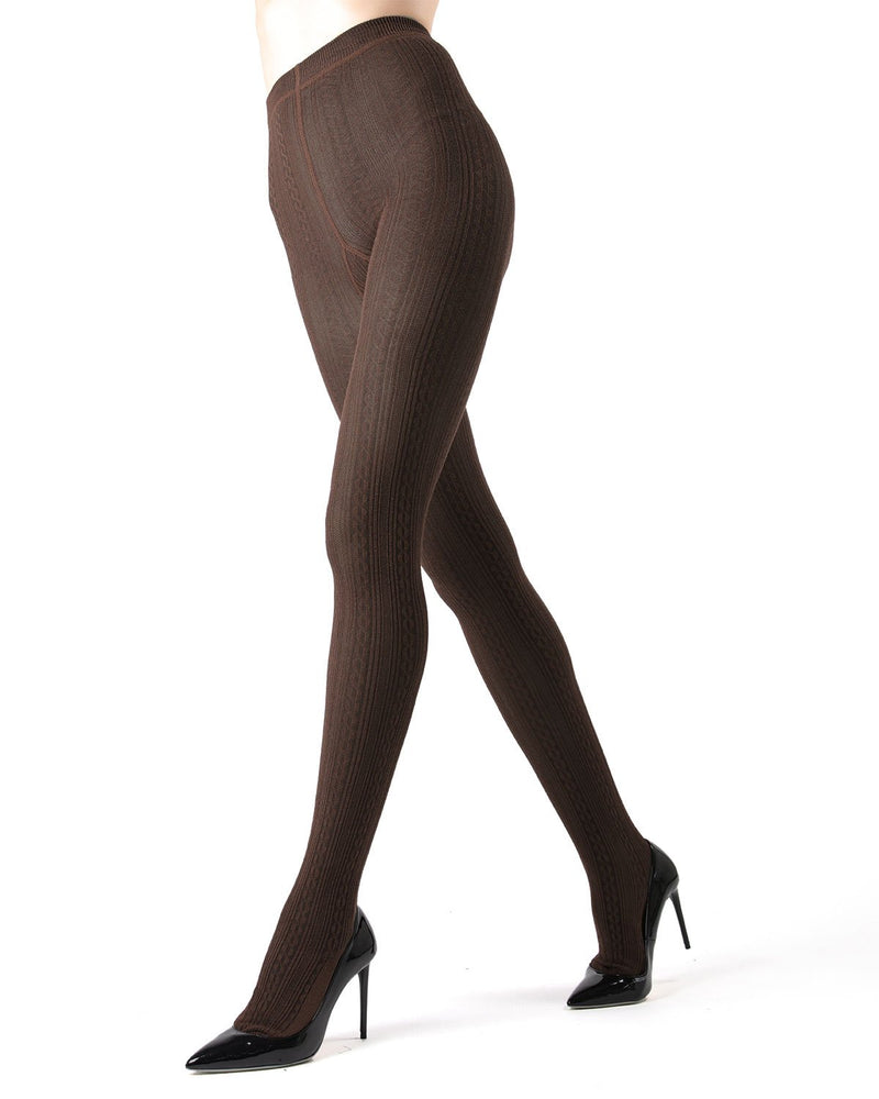 Memoi Brown Heather Toronto Cable Sweater Tights | Women's Hosiery - Pantyhose - Nylons