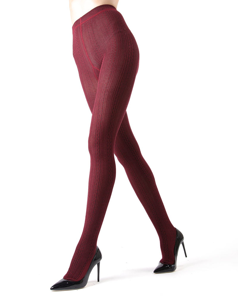 Memoi Cabernet Toronto Cable Sweater Tights | Women's Hosiery - Pantyhose - Nylons