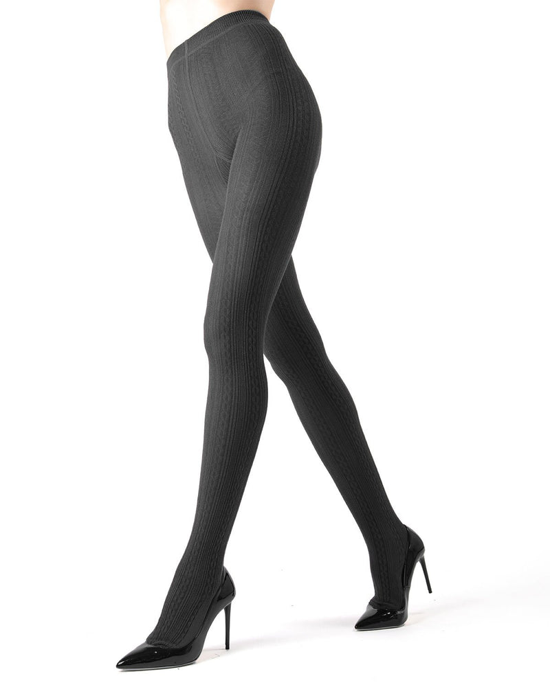 Memoi dark Grey Heather Toronto Cable Sweater Tights | Women's Hosiery - Pantyhose - Nylons
