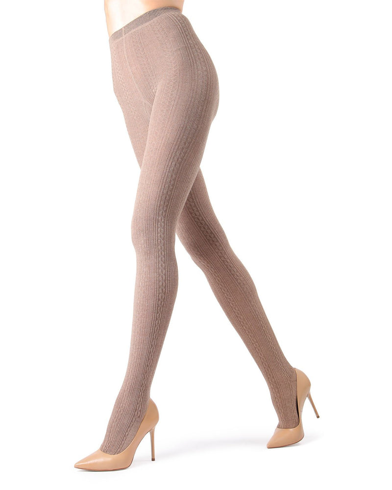 Memoi Light Taupe Heather Toronto Cable Sweater Tights | Women's Hosiery - Pantyhose - Nylons