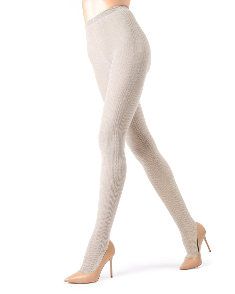 Memoi Oatmeal Heather Toronto Cable Sweater Tights | Women's Hosiery - Pantyhose - Nylons