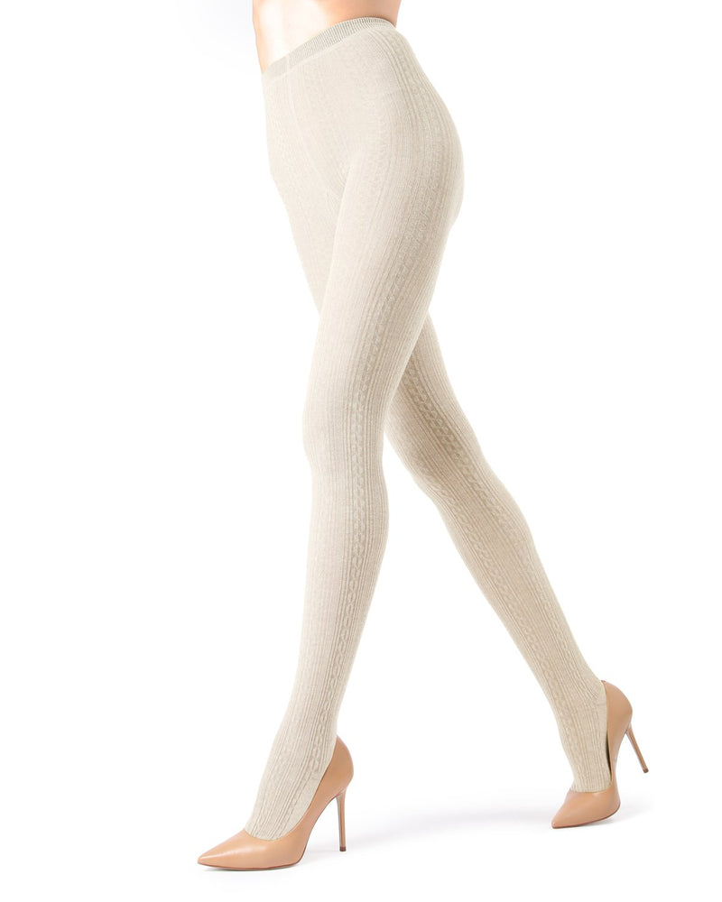 Memoi Winter White Toronto Cable Sweater Tights | Women's Hosiery - Pantyhose - Nylons