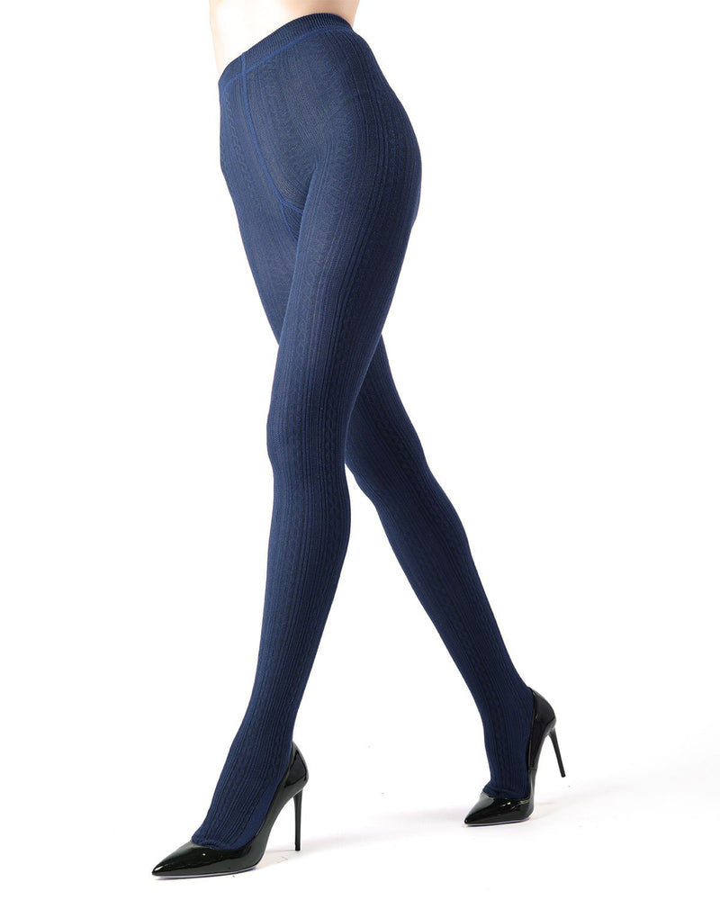 Memoi Navy Blazer Toronto Cable Sweater Tights | Women's Hosiery - Pantyhose - Nylons